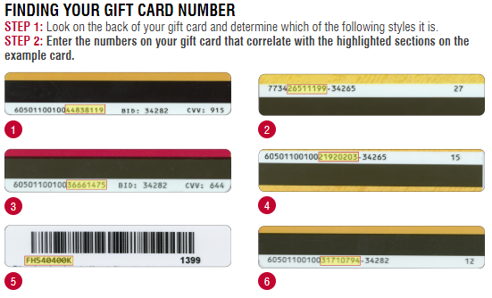 Gift Card Instructions